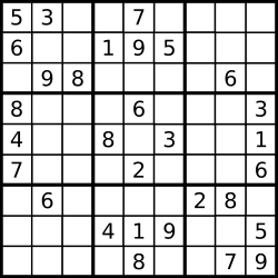 A partially filled sudoku which is valid.